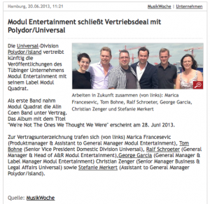 w Modul Entertainment GmbH - Universal Music Deutschland GmbH